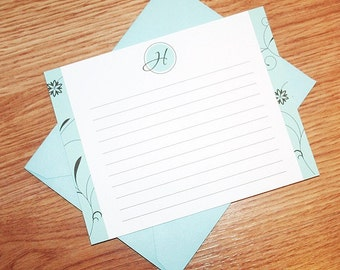 Monogrammed Flat Notecards, Lined Monogrammed Note Cards, Turquoise and Brown Note Cards - Set of 12