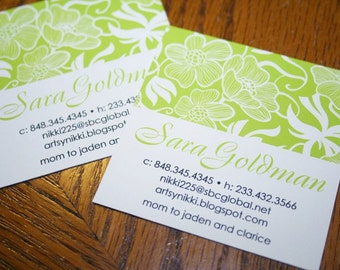 Square Calling Cards - Chartreuse Floral Calling Cards, Business Cards, Mommy Cards, Social Cards - Set of 60