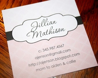 Calling Cards, Business Cards, Mommy Cards - Pink Patterned Calling Cards - Square Calling Cards - Set of 60