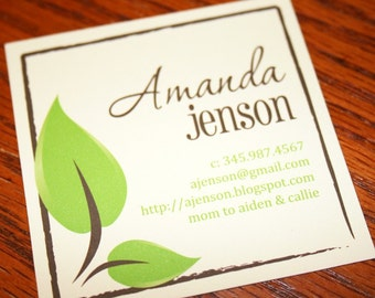 Business Cards, Calling Cards, Mommy Cards - Leafy Pale Yellow Calling Cards - Set of 60