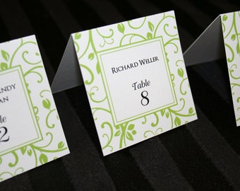 Place Cards, Seating Cards, Escort Cards - Floral Pattern Place Cards, Green Floral Place Cards - Square Tented Place Cards