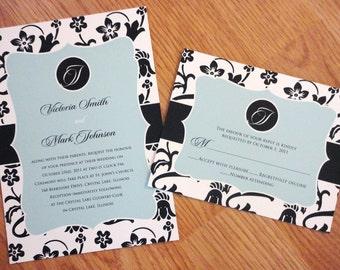 Floral Wedding Invitation Set - Light Blue and Black Floral Wedding Invitation - Monogrammed Wedding Invitation - Framed Invitation