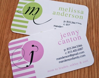 Calling Cards, Business Cards, Mommy Cards - Monogrammed, Striped Calling Cards, Modern Mommy Cards, Custom Calling Cards - set of 50