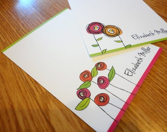Personalized Note Card Set, Custom Note Cards - Flat with Fun Flowers Note Cards - Great Christmas Gift - Set of 12