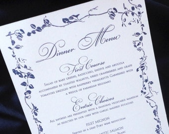Dinner Menus for Wedding or Event - Elegant Ivy Design Menus - Floral and Ivy Menus - Floral Dinner Menus