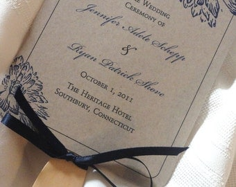Kraft Wedding Program Fan - Flower Design - Fan Wedding Program - Rustic Wedding Programs - Rustic Program Fans