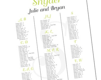 Seating Chart for Wedding or Event, Swirls Design Seating Chart, 24 x 36 Seating Chart - Digital Printable File