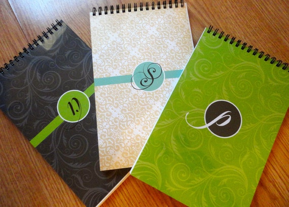 Personalized Monogrammed Spiral Bound Journal or Notebook - Monogrammed Journal - Choose From 3 Designs