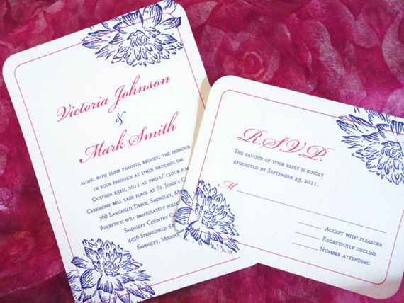 Floral Wedding Invitation Set Pink And Purple Flower Design