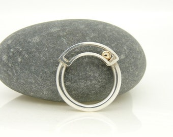 Rolling Kinetic Ring in Sterling Silver with 9ct Gold