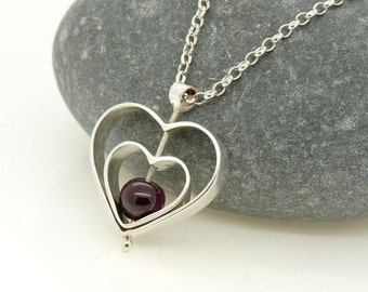 Sterling Silver Love Spinning Pendant with Garnet