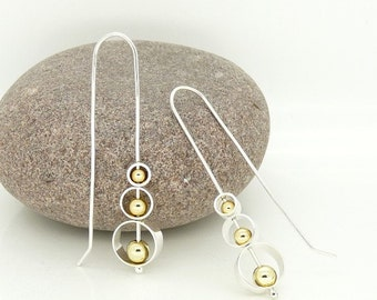 "Sterling Silver ""Spinning Circles"" Kinetic Earrings with 18ct Gold beads"