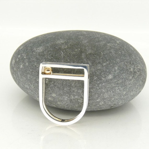 "Square Topped ""Rolling"" Kinetic Ring in Sterling Silver with 9ct Gold detail OOAK UK Size N"