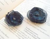 Dark Blue Fabric Flowers Duet in a Hair Clip