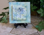 Beeswax, encaustic mixed media art canvas dragonfly 1/2 price sale