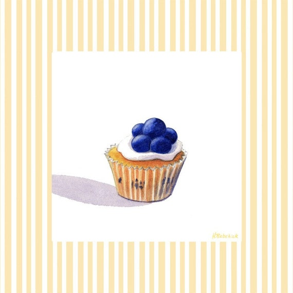 Blueberry cupcake nursery wall art decor 8x8 giclee print for Cupcake wall art