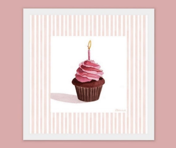 Birthday Cupcake Nursery Wall Art Decor Giclee by ...