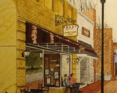 Toast - Print from the Original Watercolor of the Toast Resturant in Davidson NC by Michael Joe Moore