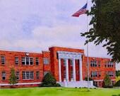 Statesville Senior High School in Statesville North Carolina Print from the Original Watercolor by Michael Joe Moore