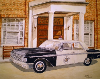 Mayberry SQUAD CAR Print of the Original Watercolor by Michael Joe Moore