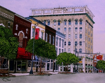 Print From The Original Watercolor of Downtown Salisbury North Carolina by Michael Joe Moore