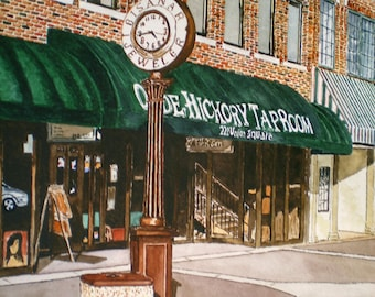 Old Hickory - Print from the Original Watercolor of Union Square in Downtown Hickory NC by Michael Joe Moore