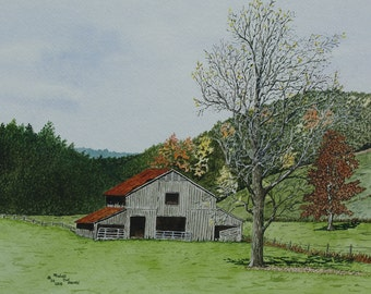 Mountain Barn - Print from the Original Waterfcolor by Michael Joe Moore