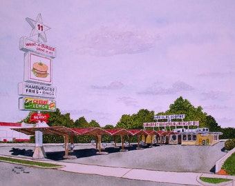 What A Burger in Mooresville NC Print from the Original Watercolor by Michael Joe Moore
