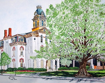 Old Court House in Concord North Carolina Original Watercolor by Michael Joe Moore