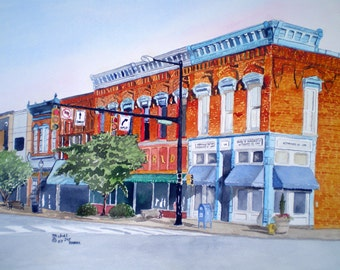 Old Downtown Statesville Print from the Original Watercolor by Michael Joe Moore
