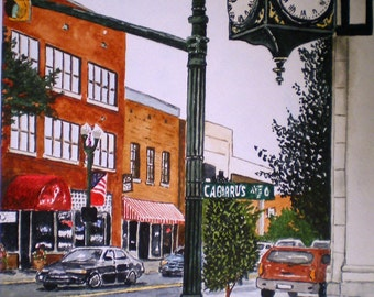 Downtown Concord North Carolina Print from the Original Watercolor by Michael Joe Moore