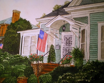 Old Fashion Patriotism-Origional Watercolor Signed by Michael Joe Moore