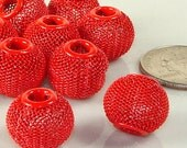 12 Red Mesh Beads 16mm (42722) Jewelry Supplies - Bulk Beads for Big Hoop Earrings & Friendship Stretch Bracelets and Statement Necklaces