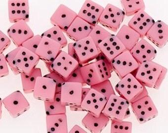 100 Pink Dice Beads 5mm (40026) Corner Holes Gambling Las Vegas Bulk Beads Jewelry Supplies for Friendship Bracelet or Earrings Lucky Charm