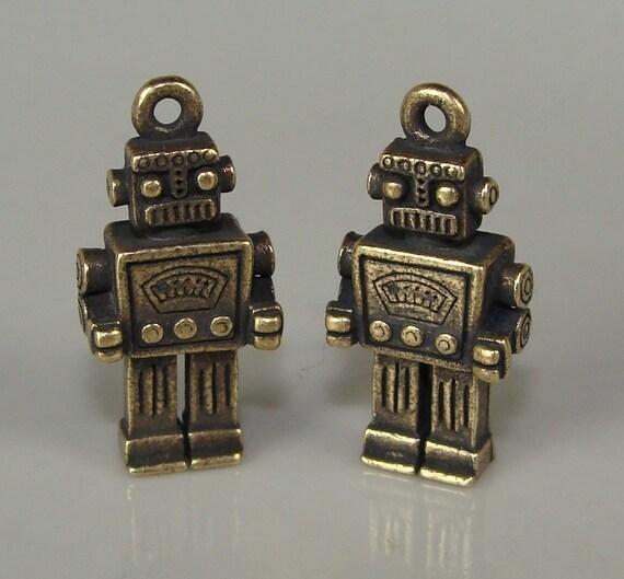 12 Rockem Sockem Robot Charms Antique Bronze (31512)