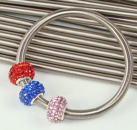 3 Wide Spring Bracelets - Twist Open to Add Large Hole Beads - Wire Coil Stretch Bracelet Jewelry Making Supplies Silver Finish