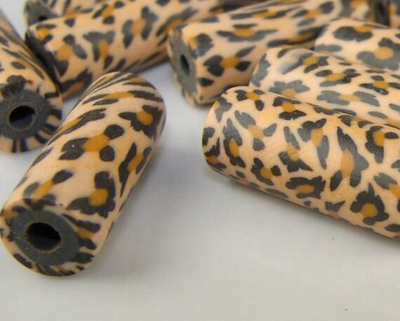 20 Leopard Fimo Tube Beads (763018)