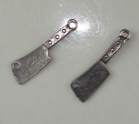 2 Pewter Meat Cleaver Charms (31004)