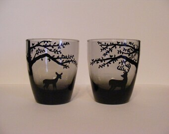 Deer in the woods Glass Set of 2