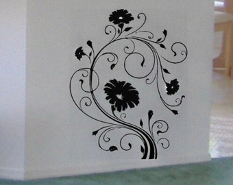 Fancy Flowers Floral Scroll vinyl wall decal sticker art graphic