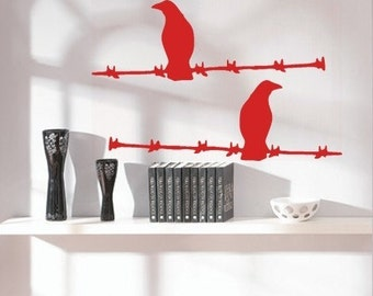 Birds on Barbed Wire - vinyl wall decal graphic art sticker