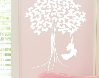 Push Me - Girl on Tree Swing vinyl wall decal sticker art graphic