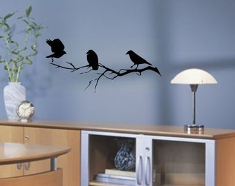Birds Hanging Out on a Tree Branch vinyl wall art decal graphic