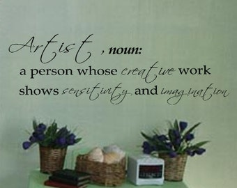 ARTIST definition Creative Sensitivity Imagination vinyl wall art lettering decal graphic