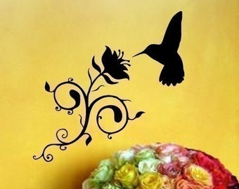 HUMMINGBIRD fluttering at a Swirly Flower vinyl wall art graphic decal sticker