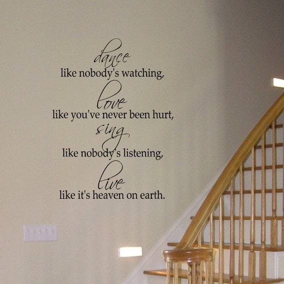 Dance Love Sing Live inspirational vinyl wall decal graphic art lettering Home Decor