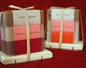 Custom gift set of Handmade essential oil soaps by Sacred Suds - pick three soaps.  Includes wooden soap dish and gift wrap.