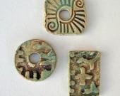 Three primitive Ceramic beads\/pendants  2