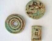 Three primitive Ceramic beads\/pendants  3