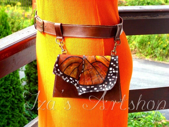 Hand-painted Leather Butterfly Belt Bag Set No.1